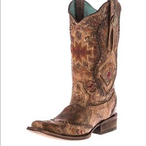 Corral Cognac Brown Aztec Fringe Cowgirl Boots